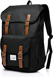 Vaschy School Backpack for Men and Women Casual Travel Backpack Camping Rucksack Bookbag with15.6in Laptop Sleeve Black