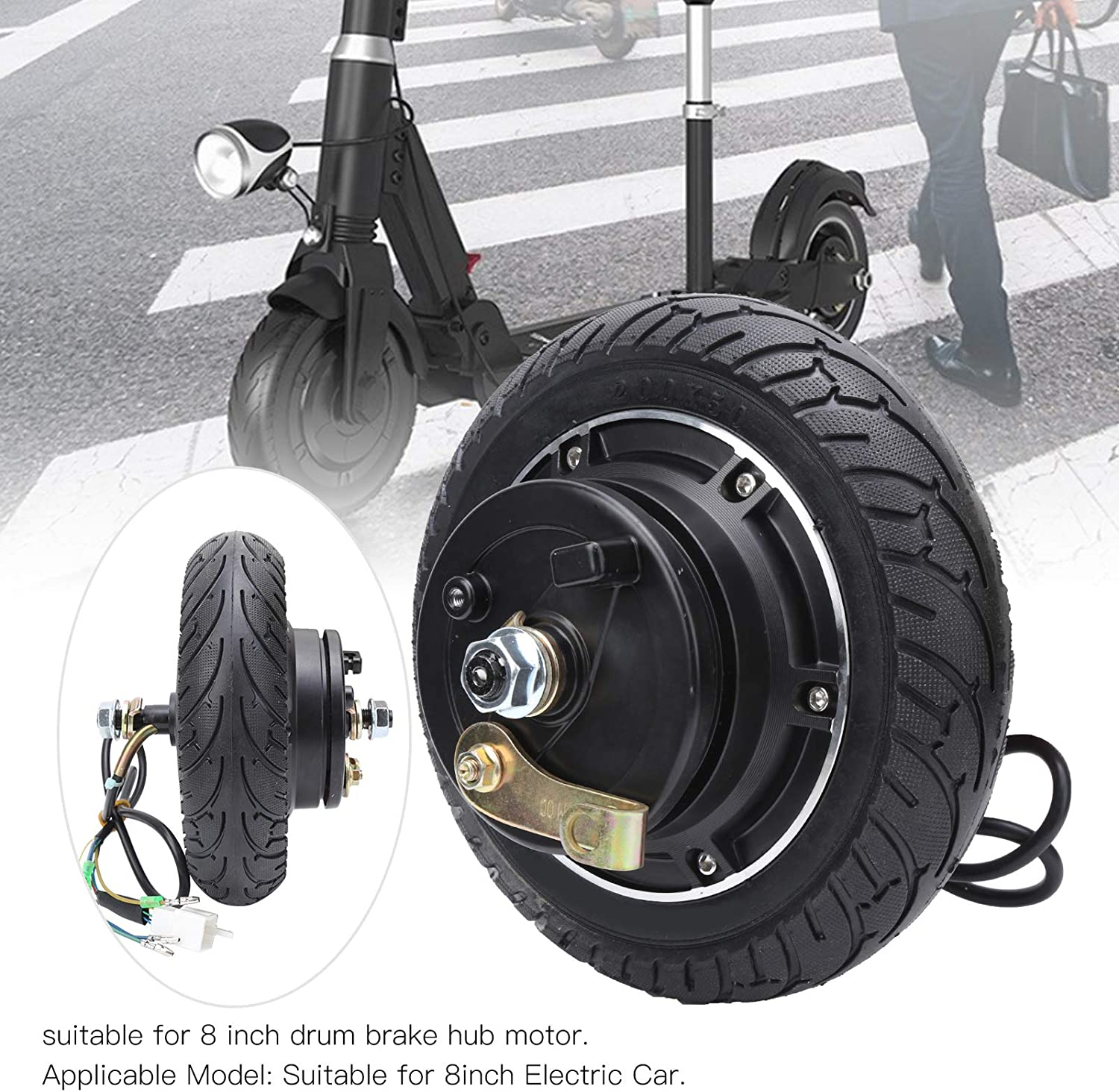 Vbestlife Hub Motor,36V 350W 8inch Electric Scooter Brushless Toothless Wheel Hub Motor with Hall Cable