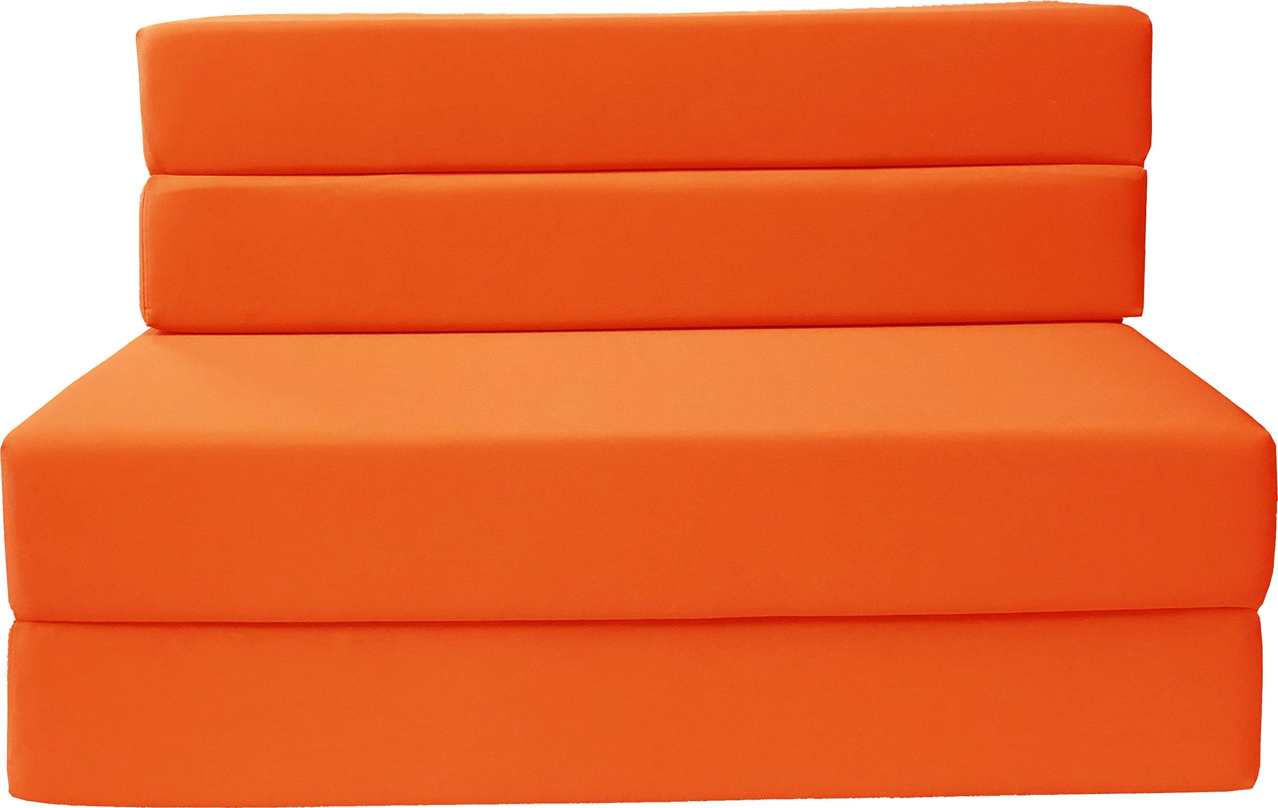 Folding Foam Mattress, Sofa Chair Bed, Guest Beds (Twin Size, Orange)