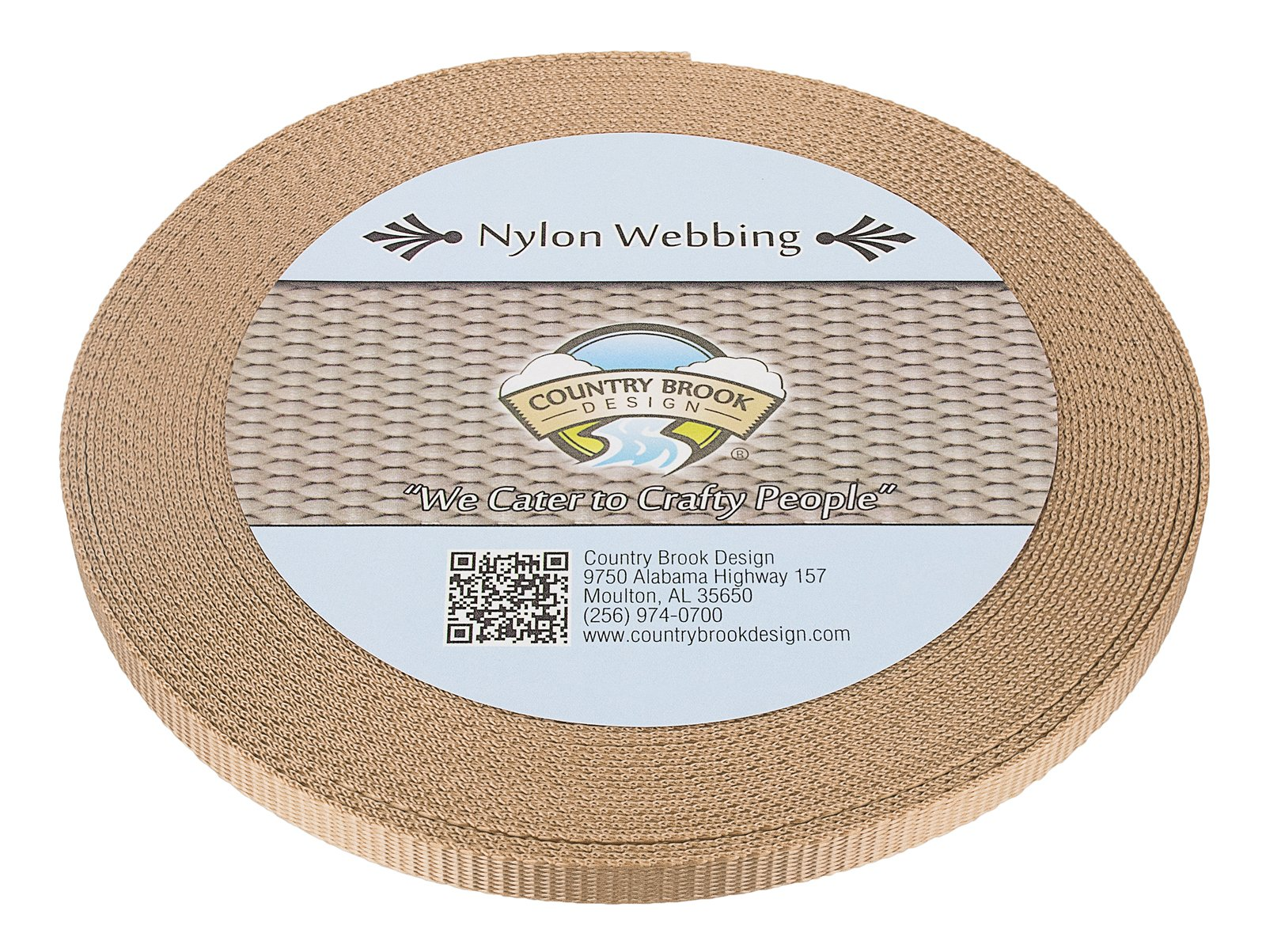 Country Brook Design 3/8 Inch Copper Gold Heavy Nylon Webbing, 10 Yards