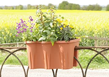 Fence Top Hanging Basket Planters Plastic flower plant pot boxes for fences  balconies