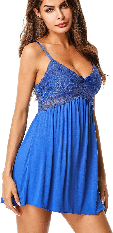 ZEGOLO Women Lace Lingerie Sleepwear Chemises V Neck Full Slip Babydoll Nightgowns Sexy Sleep Dress: Clothing
