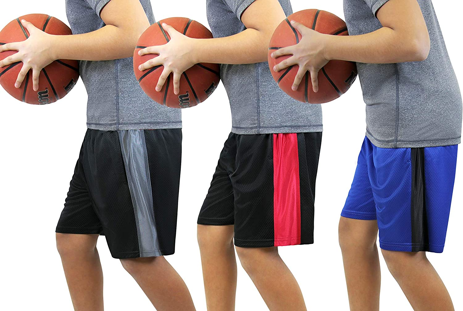 3 Pack Boys Premium Active Athletic Performance Shorts with Pockets