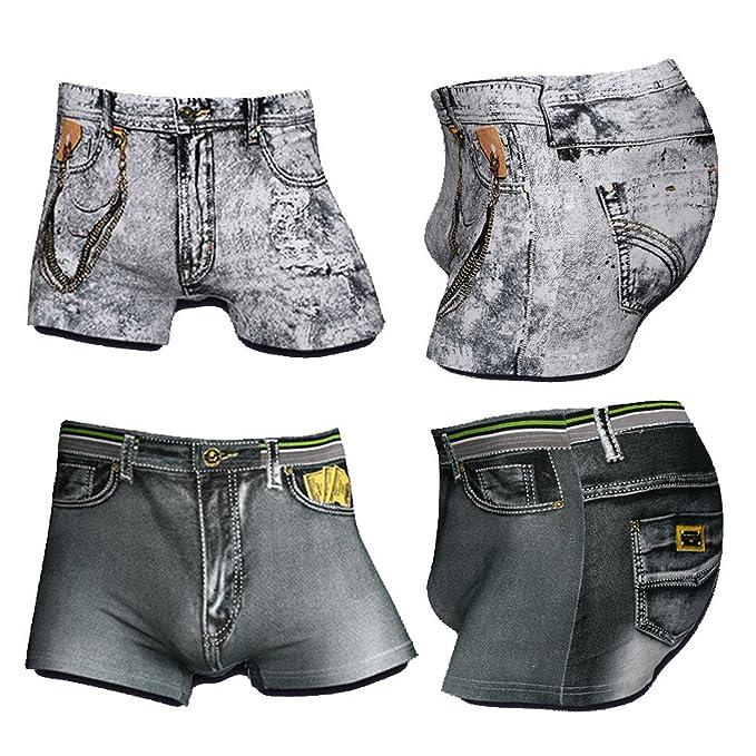 Hombre Bóxers 4 Unids/Set Pantalones Vaqueros de Algodón Hombres Boxers Ropa Interior Sexy U Convex 3D Imprimir Ropa Interior Pantalones Cortos Moda Novedad ...