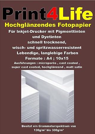 50 hojas de papel fotográfico Formato: 10x15, 260g / m² de ...