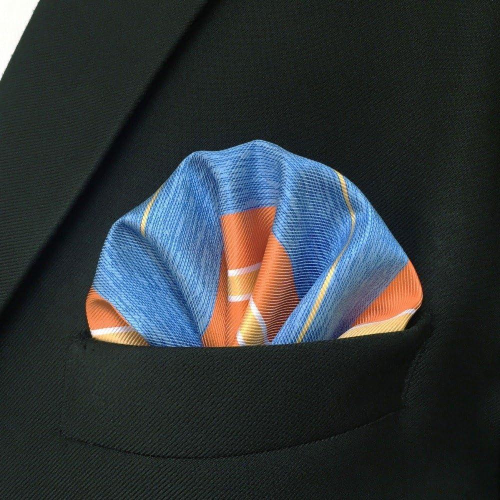 Tomeco EH37 Orange Azure Striped Silk Mens Pocket Square Dress Classic Handkerchief Fashion Groom Accessory Hanky