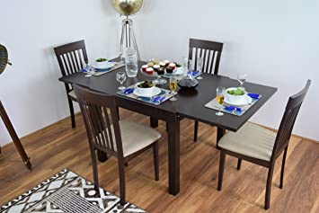 Extending Dining Table And 4 Chairs Bench Set Solid Wood Kitchen