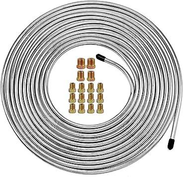 Muhize Flexible Zinc-Coated Steel Tube Roll 25 ft 1//4 25 Ft of 1//4 Brake Line Tubing Kit