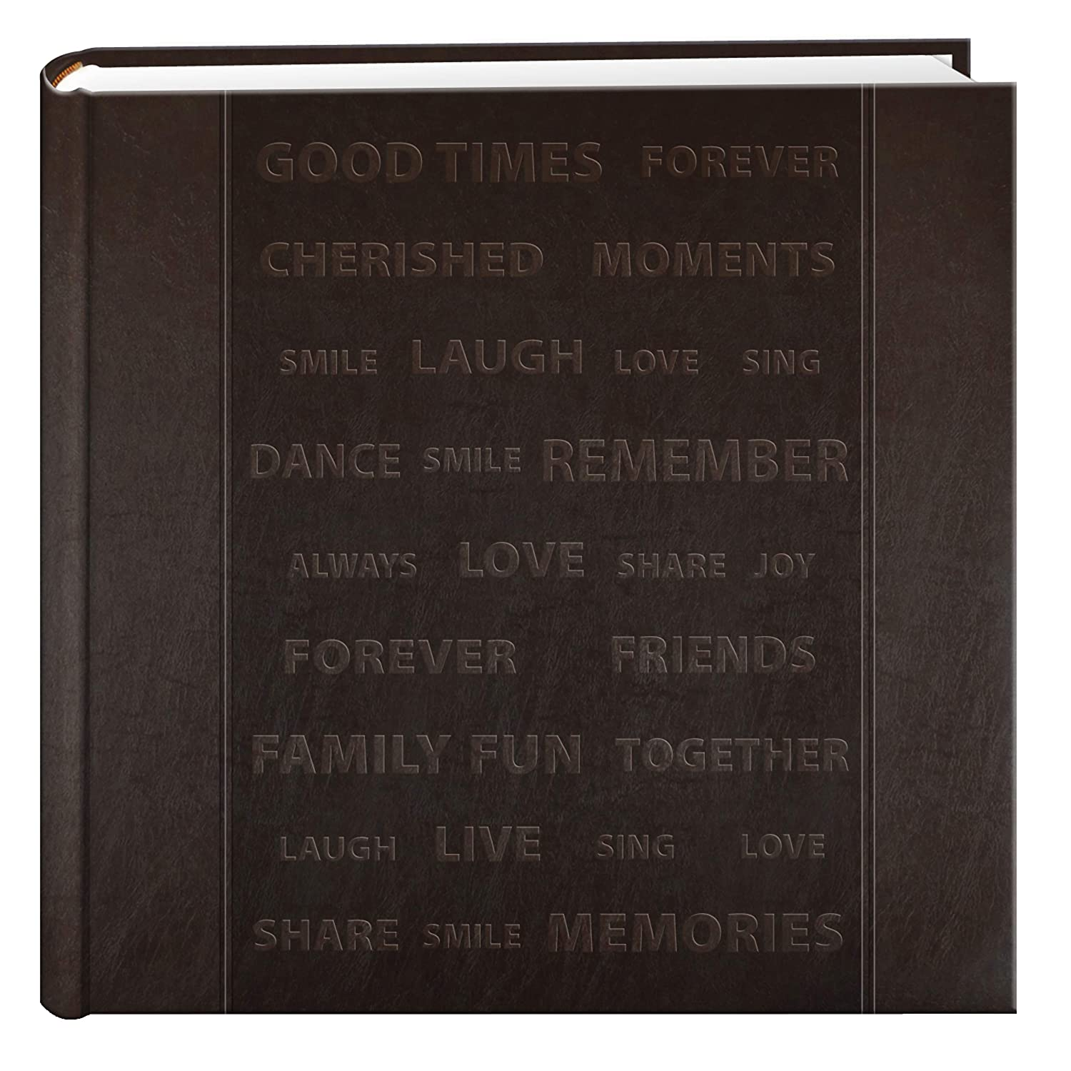 Pioneer Photo 200-Pocket Embossed Words Design Leatherette Album for 4 by 6-Inch Prints, Brown Pioneer Photo Albums DA-200WRDS
