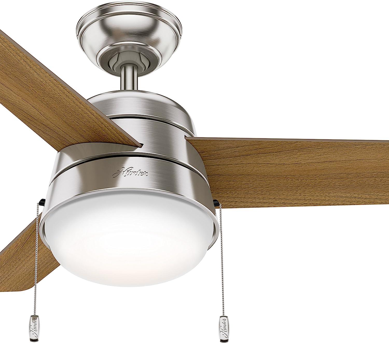 Hunter Fan 36 inch Ceiling Fan in Brushed Nickel with LED Light Kit Renewed