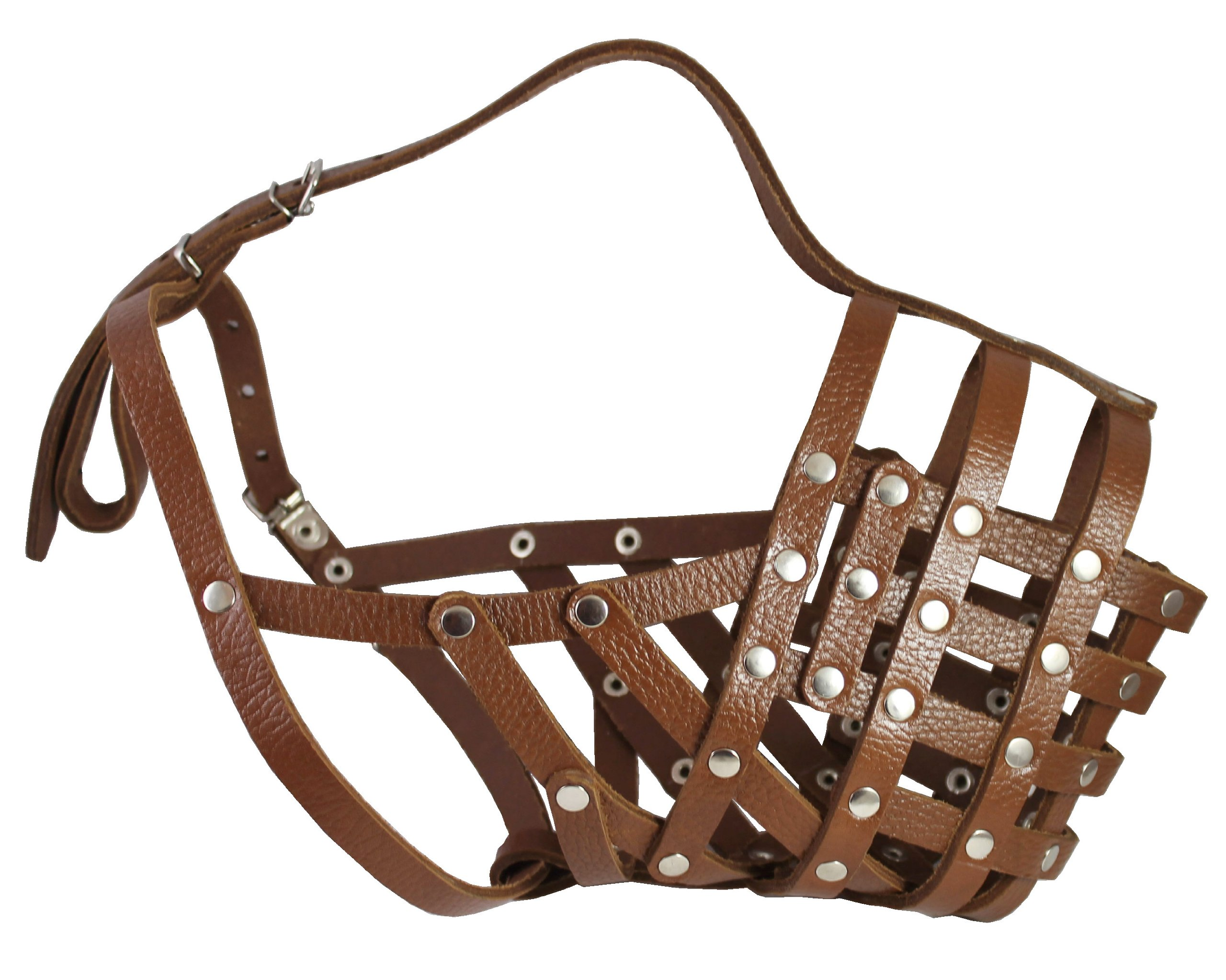 Secure Leather Mesh Basket Dog Muzzle #16 Brown - Great Dane, Saint Bernard, Mastiff (Circumference 15.5'', Snout Length 4.5'') by Dogs My Love