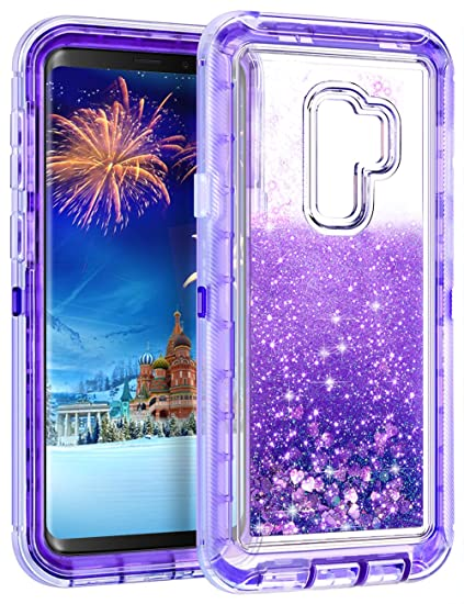 sports shoes 347f9 dff26 WOLLONY Galaxy S9 Plus Case, 360 Full Body Shockproof Liquid Glitter  Quicksand Bling Case Heavy Duty Phone Bumper Non-Slip Soft Clear Rubber ...