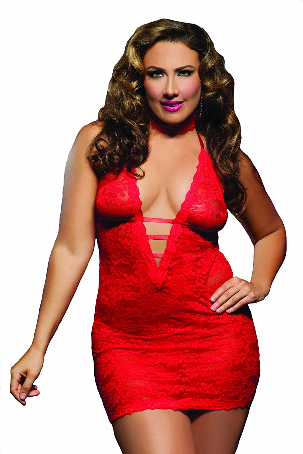 SEVEN 'TIL MIDNIGHT Women's Plus Size Affair Chemise Black Queen Size Seven Til Midnight 9217X