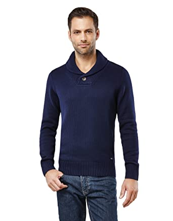 29fedcb4bdf9 Vincenzo Boretti Herren-Pullover Schalkragen Slim-fit tailliert Strick- Pullover einfarbig Baumwolle-Mix edel elegant warm dick Grob-Strick für  Business oder ...