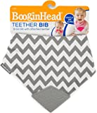 Booginhead Teether Bib, Grey/White Chevron