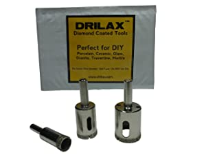 "3 Pcs SET Diamond Hole Saw Drill Bit Set Granite Glass Tile - Tools 3 Piece Diamond Dust Hole SAW Drill BIT for Ceramic Tile Marble Rock Porcelain - 1/2"" -3/4"" - 1"" Inch In"