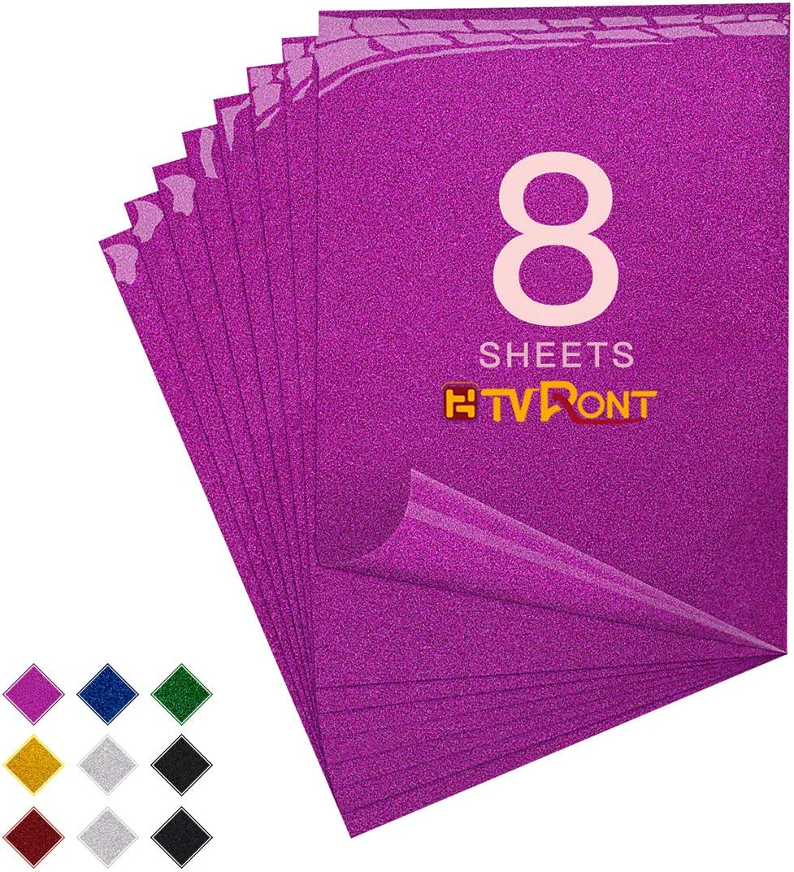 8 Sheets 12in x 10ft Green Iron On Glitter HTV Vinyl for Cricut /& Silhouette Cameo Easy to Cut /& Press Green Glitter Heat Transfer Vinyl HTV