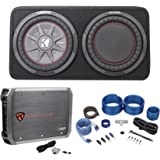"Kicker 43TCWRT102 10"" Slim Car Subwoofer+Sub Box w/Passive Radiator+Amp+Wire Kit"