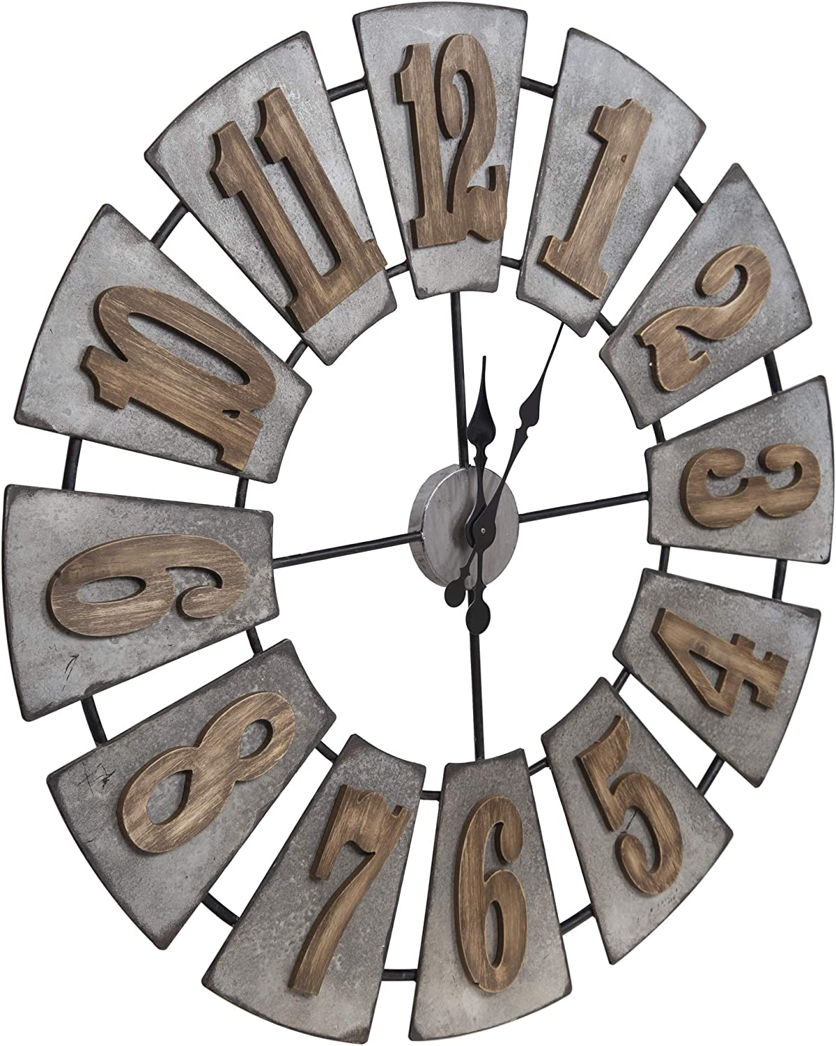 Everly Hart Collection Oversized Metal And Wood Windmill Wall Clocks Silver Amazon Ca Home Kitchen