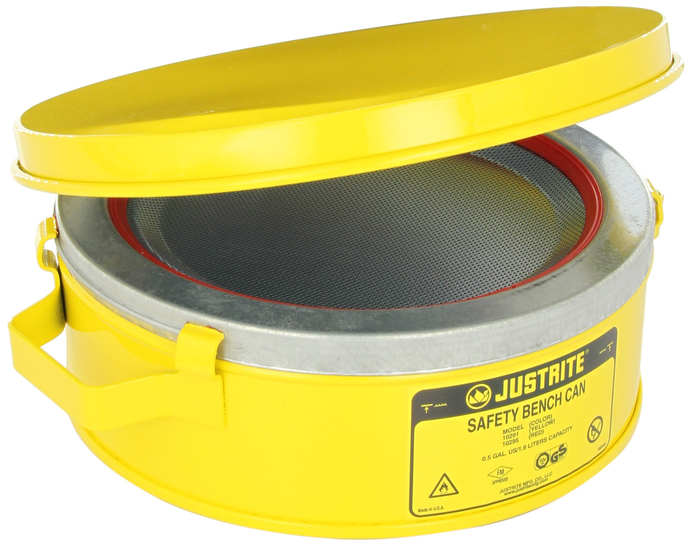 Justrite 10291 Steel Bench Can, 2L Capacity, Yellow
