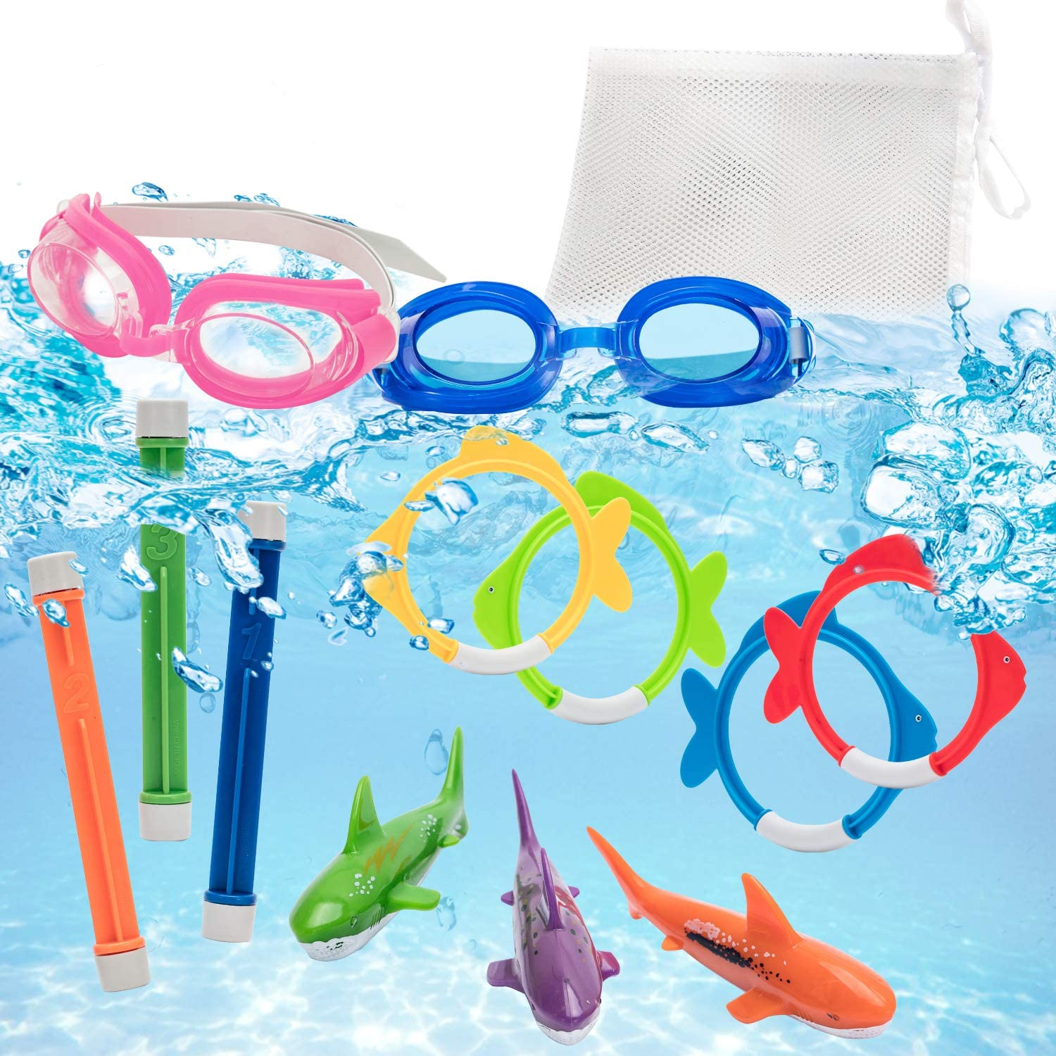 Pool Diving and Swimming Toys for Kids and Beginner Swimmers, 10 Pack Set with Goggles, Dive Sticks, Fish Rings, and Shark Torpedos, Bright and Colorful Underwater Swim Training Bundle w/ Storage Bag