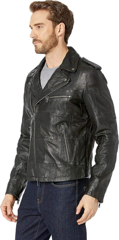 c4ac817ce58a2 John Varvatos Star U.S.A. Mens Patchwork Goat/Lamb Leather Biker Jacket
