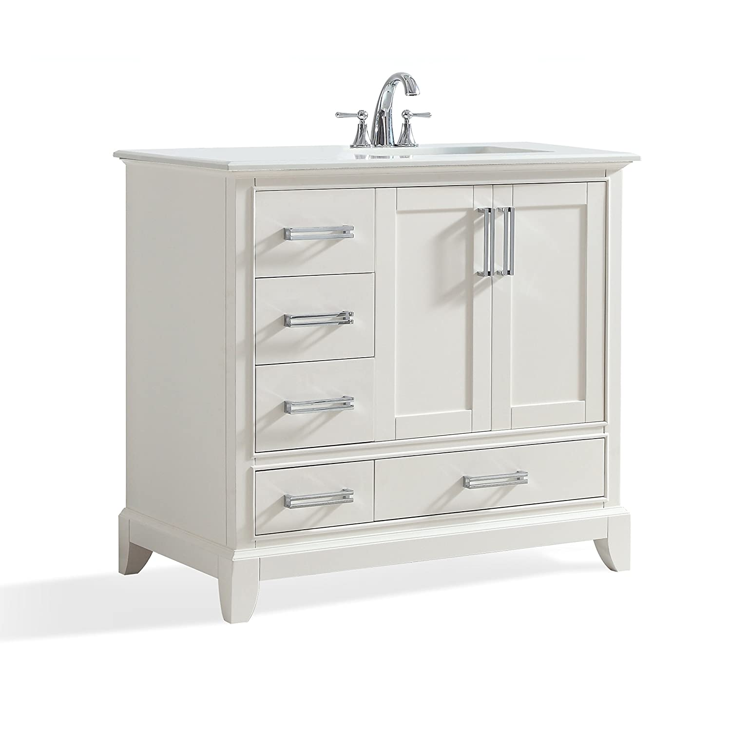 Simpli Home AXCVGNW-36R Elise 36 inch Traditional Bath Vanity in Soft White with Bombay White Engineered Quartz Marble Top