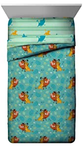 Jay Franco Disney Lion King Fun in The Sun Full Comforter - Super Soft Kids Reversible Bedding Features Simba, Pumbaa, and Timone - Fade Resistant Microfiber (Official Disney Product)