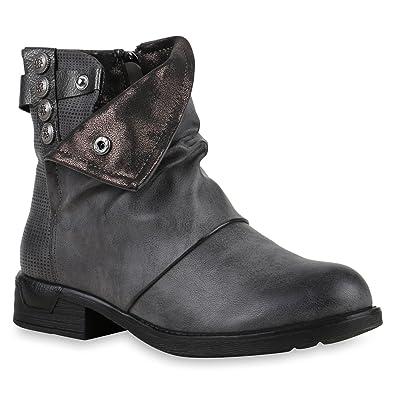 Stiefelparadies Damen Stiefeletten Zipper Biker Boots Leder-Optik Schnallen  Knöchelhohe Stiefel Damen Schuhe 122271 Grau c9d3d4c7c5