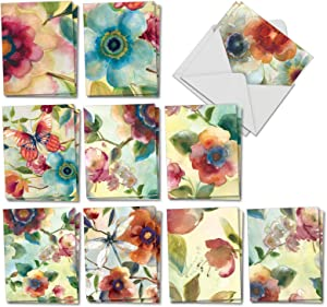 The Best Card Company - 20 Assorted Blank Plant Cards Boxed (4 x 5.12 Inch) (10 Designs, 2 Each) - Watercolor Botanicals AM3314OCB-B2x10