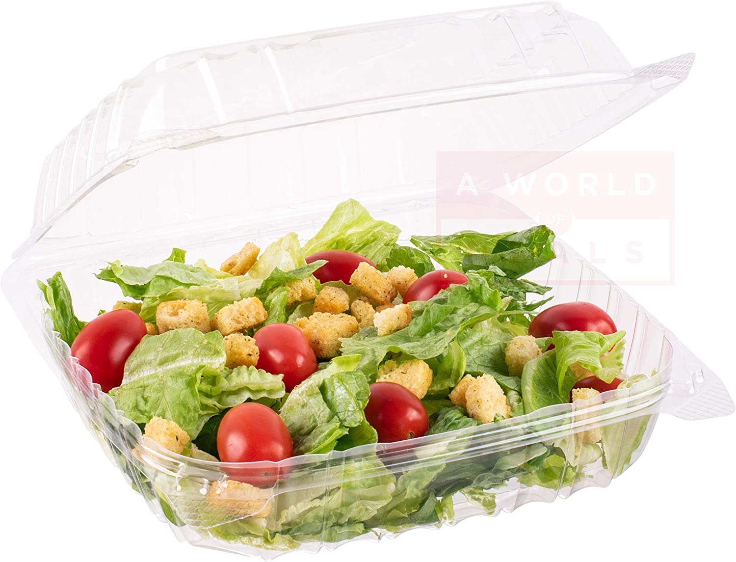 A World Of Deals Clamshell Square Clear Hinged [50 Pack] Take-Out Plastic Salad Go Containers [Size: 8 5/16