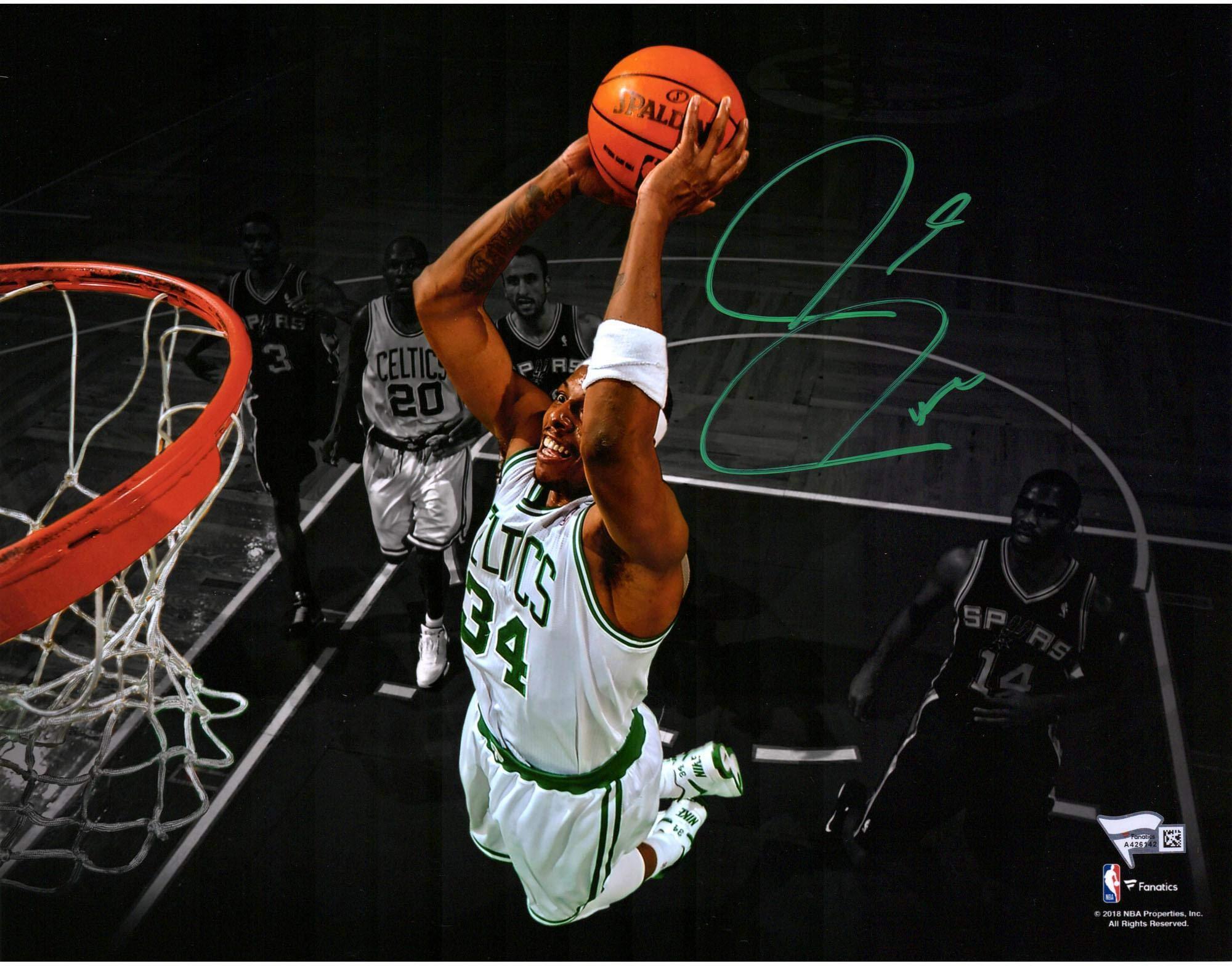 Paul Pierce Boston Celtics Autographed 11'' x 14'' Dunking Spotlight Photograph Fanatics Authentic Certified