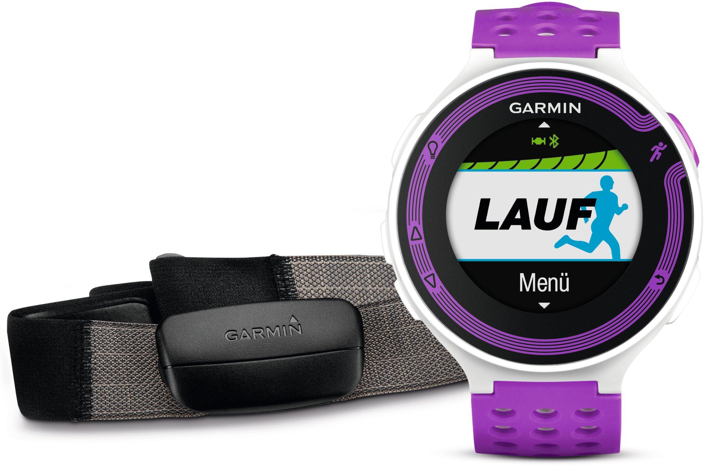 Garmin Forerunner 220 HRM Bundle GPS Running, Include Fascia Cardio Soft Premium, Bianco/Viola product image
