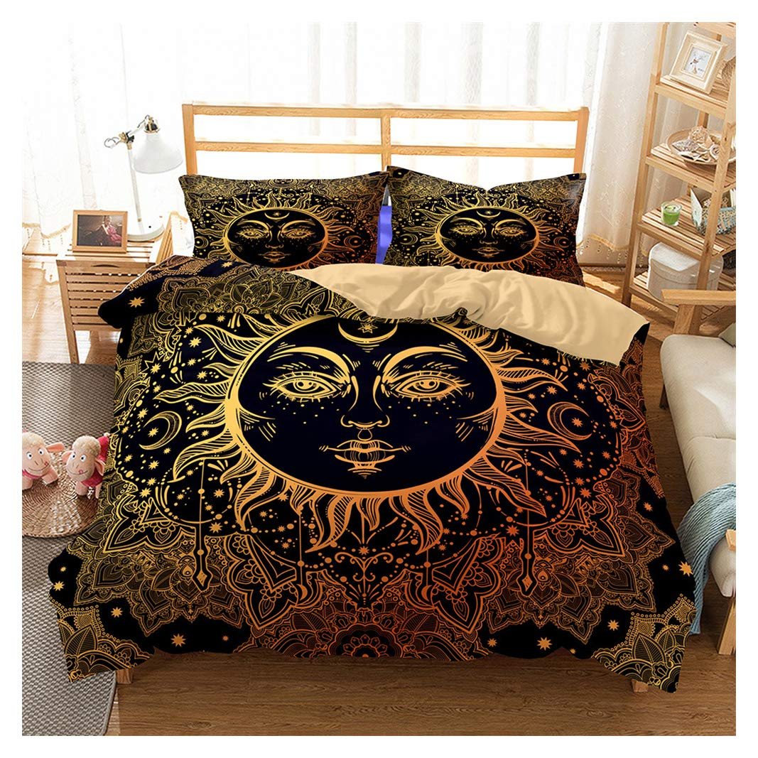 Style 03 King Bohemian Duvet Cover Set Twin 3D Printed Sun and Moon Bedding Set for Kids Teens Adults Soft Mandala Comforter Cover with Zipper Closure, Ties and 2 Pillowcases (3Pcs)