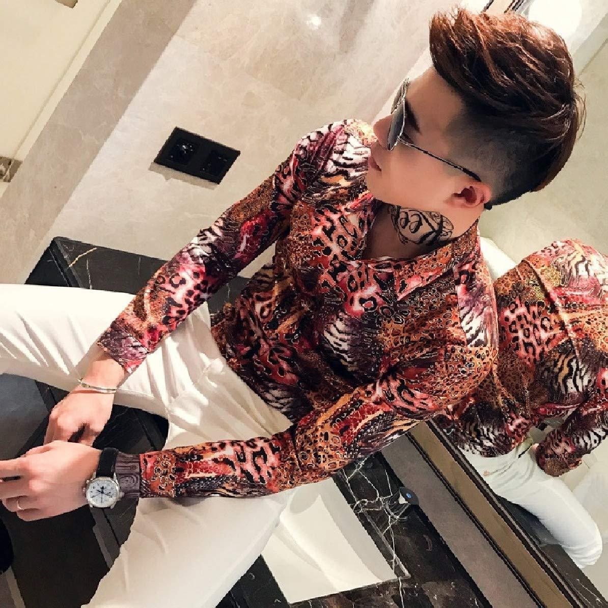 Comaba Mens Nightclub Style Satin Silky Leopard Print Fashion Woven Shirt