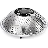 """Stainless Steel Vegetable Steamer Foldable Veggie Fish Seafood Cooking Steamer Basket with Extendable Handle, 7.2"""" to 11"""""""