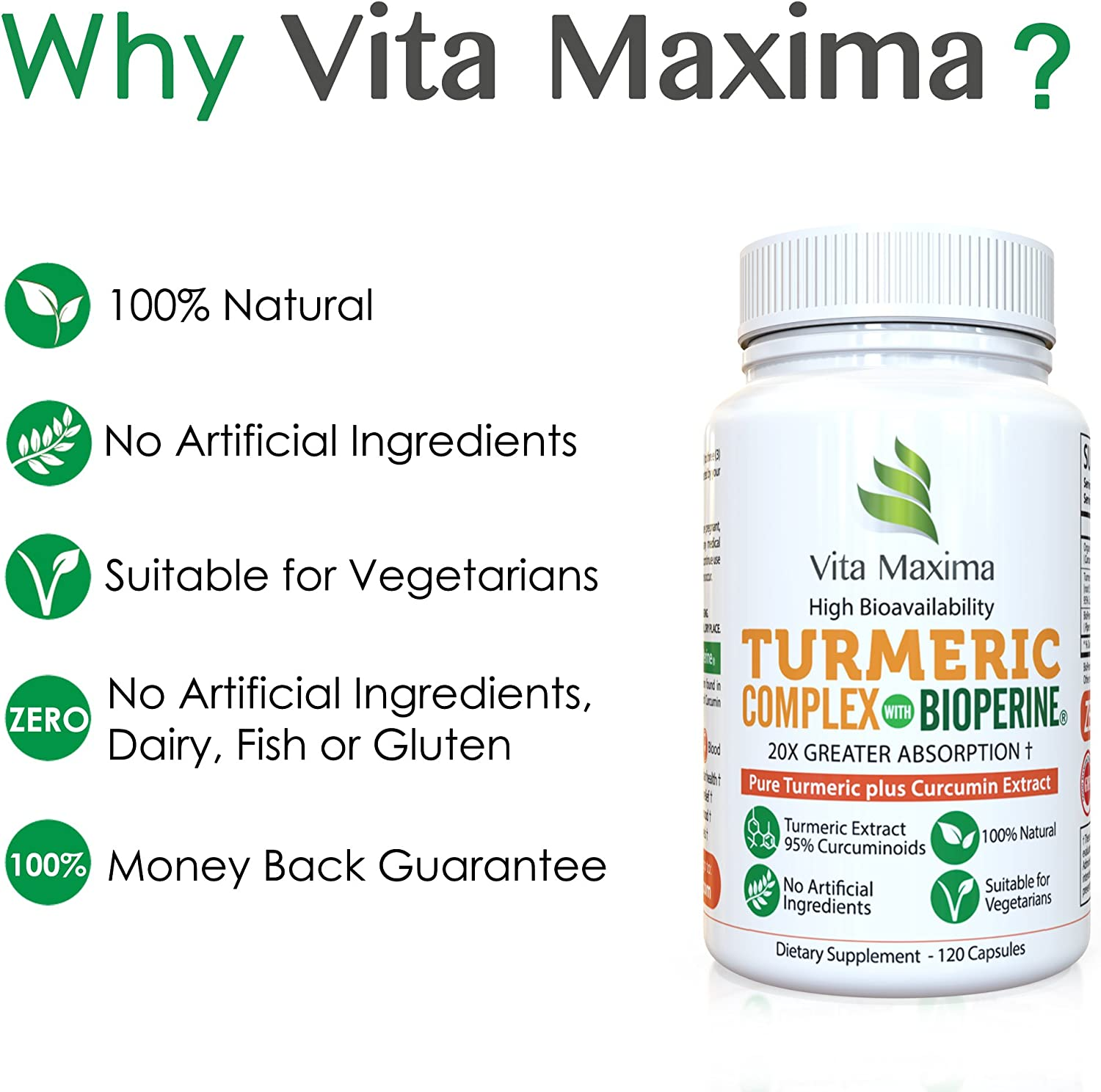 Vita Maxima Natural Turmeric Curcumin Supplement with Bioperine 1000mg 60 Days Supply