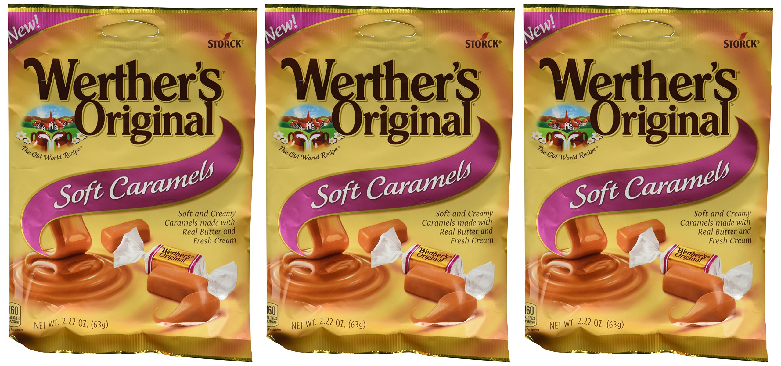 Werther's Original New Soft Caramels 2.22 Oz (63g) (3 Pack)