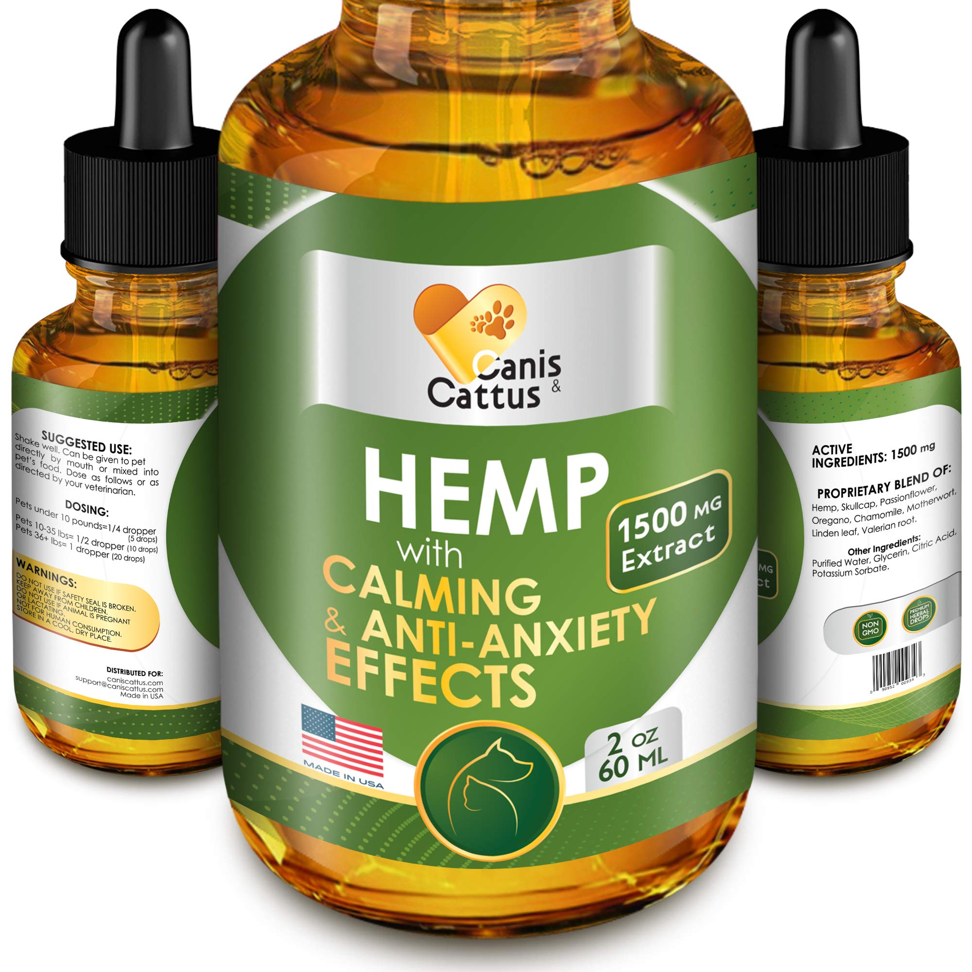 Hemp Oil for Dogs & Cats - 1500 MG - Natural Dog Pain Relief - Anxiety&Stress Relief - Supports Hip&Joint Health - Hemp Skullcap Passionflower Oregano Chamomile - Calming Effect (2 oz) by Canis&Cattus