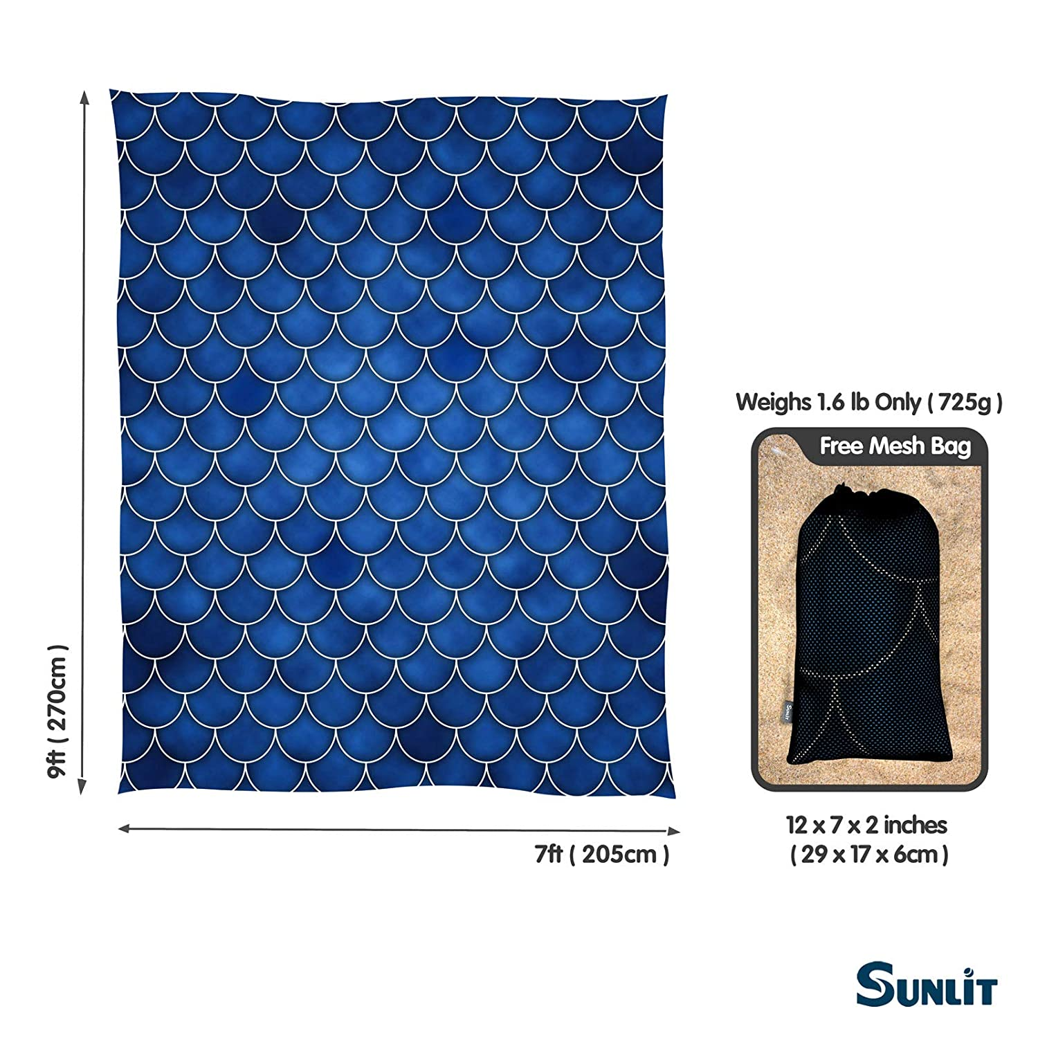 Camping and Outdoor Music Festival Travel Sunlit Silky Soft Sandfree Beach Blanket Sand Proof Mat with Corner Pockets and Mesh Bag 7 x 9 for Beach Party