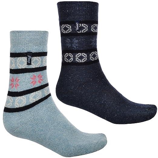 2 Pair Jeep Mens Thermal Thick Wool Walking Boot Socks - Nvy/Sky - 6