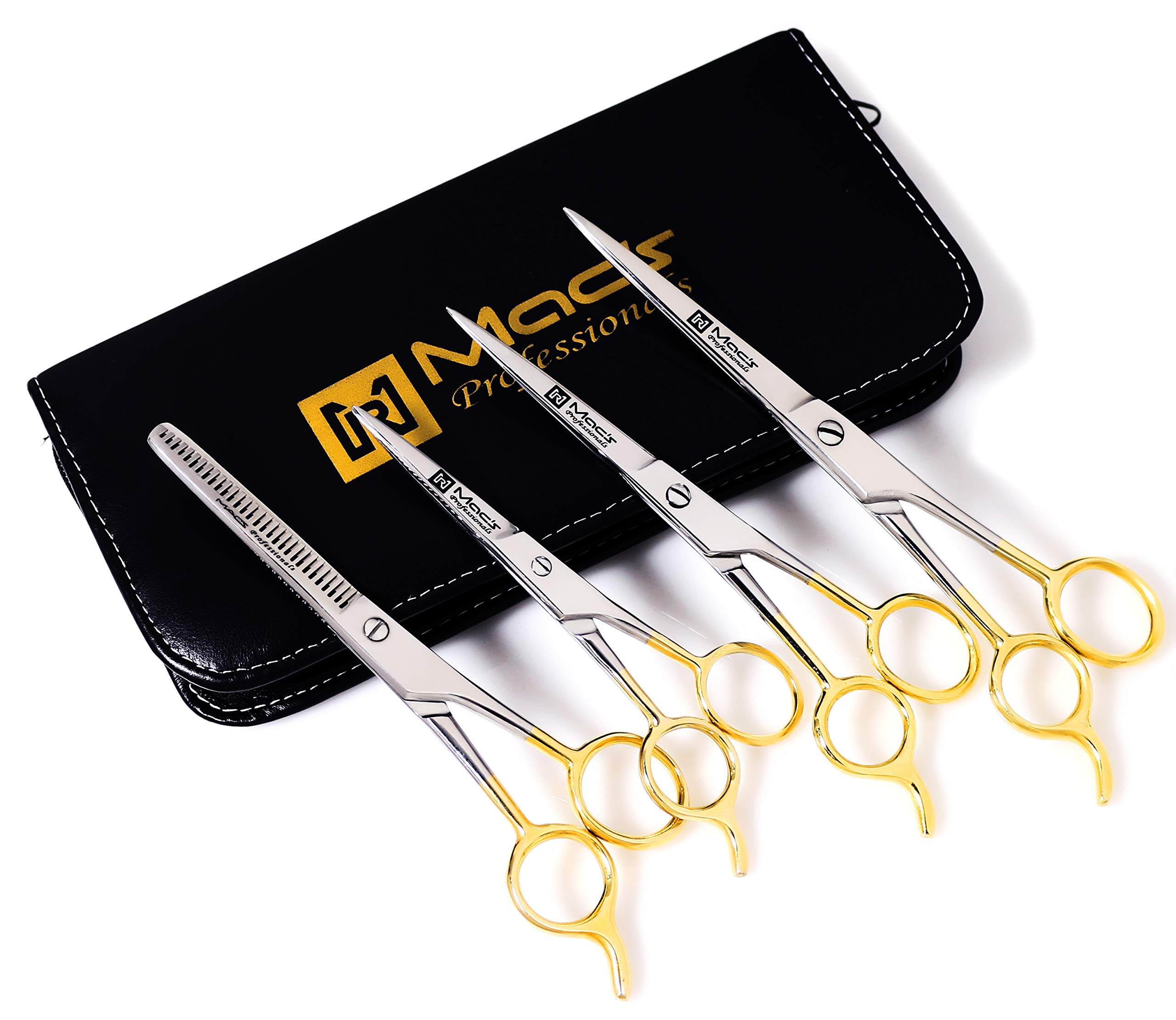 Macs Barber Scissor Hair Cutting Scissors Set Contain 4 Pcs Scissors With Half Gold Plated 5.5'' + 6.5'' +7.5'' With 6.25'' Texturizing /Thinning Shears Set Made Of High Grade Stainles Steel with Free Black Leather Case-15001 by Macs Razor Products