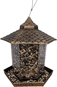 Gray Bunny Gazebo Bird Feeder, Bronze, Wild Bird Feeder, Hanging Birdfeeder for Outdoors
