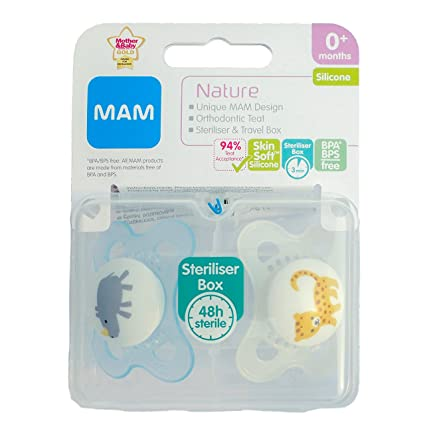 MAM Nature: 2 x Chupetes 0m+ (Rinoceronte/Leopardo): Amazon ...