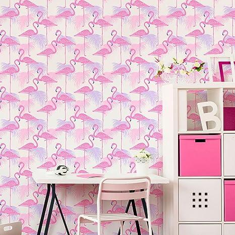 Fine Decor Fd42214 Kids Flamingo Wallpaper Pink Lilac Amazon Co