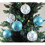Festive Season Winter Turquoise Swirl Shatterproof Christmas Ball Ornaments, Tree Decorations (Set of 6, 80mm)