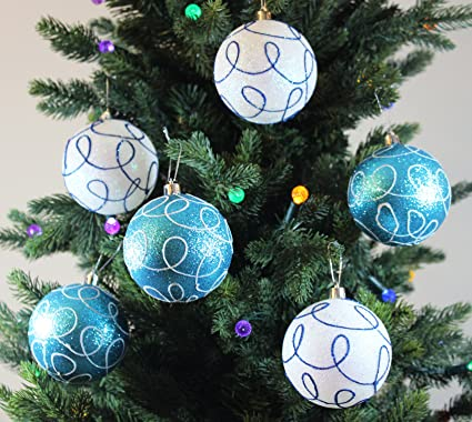 festive season winter turquoise swirl shatterproof christmas ball ornaments tree decorations set of 6 - Turquoise Christmas Tree Decorations