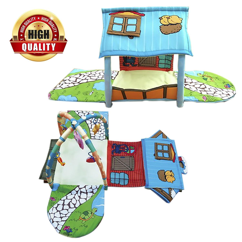 JamBea Multi Functional Padded Baby playmat- Activity Gym, Pretend Playhouse, Newborn Baby Gift, boy, Girl, 5 Toys, Sensory Gym, Babies Development, Tummy time, Crawling, Sitting, Travels Lightweight JBD Products
