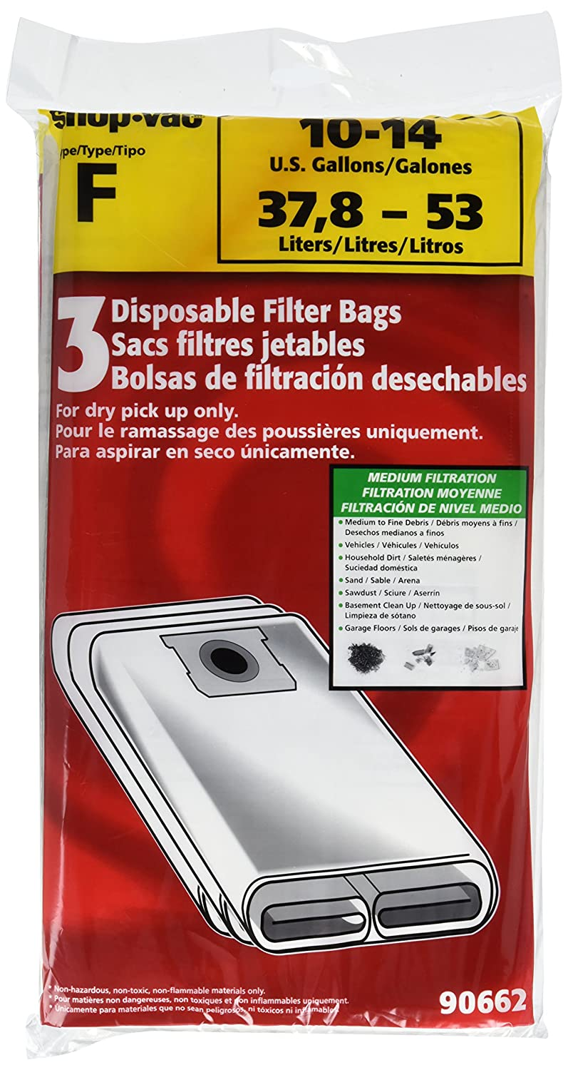 Shop-Vac 9066200 Genuine Type F, 10-14 Gallon Disposable Collection Filter Bag 3-Pack Disposable Filter Bags
