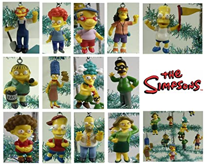 set of 14 the simpsons christmas tree ornaments featuring homer simpson marge simpson bart